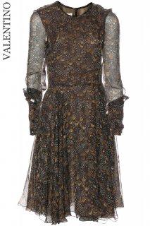 7-9号【レンタルドレス】Product code:00133 | VALENTINO 2012 Feather Print Silk Dress(ヴァレンティノ ドレス)