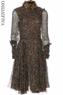 7-9号【レンタルドレス】Product code:00133-set | VALENTINO 2012 Feather Print Silk Dress (ヴァレンティノ ドレス)