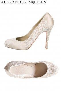 24.5cm【レンタルシューズ】PRD CODE:01090 | ALEXANDER McQUEEN Ivory Lace Round Toe Shoes(アレキサンダー・マックイーン シューズ)