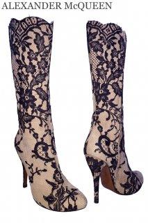 26.0cm【レンタルシューズ】Product code:01041 | ALEXANDER McQUEEN Suede Lace Boots(アレキサンダー・マックイーン ロングブーツ)