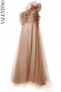 11号【レンタルドレス】PRD CODE:00134 | VALENTINO Beige One Shoulder Ruffle Tulle Gown(ヴァレンティノ ドレス/ウェディングドレス)
