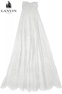 94cm【レンタルべール】Product code:17023 | LANVIN Lace Bridal Short Veil w/ Silk Chiffon Ribbon(ランバン ショートべール)