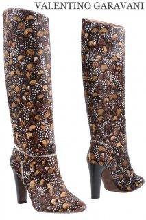24.5cm【レンタルシューズ】Product code:00071   VALENTINO GARAVANI 2012 Feather Pattern Boots (ヴァレンティノ ブーツ)