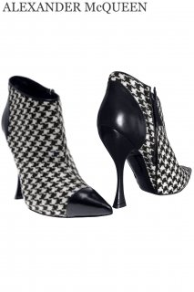 25.0cm【レンタルシューズ】Product code:01073 | ALEXANDER McQUEEN Houndstooth Ankle Boots(アレキサンダー・マックイーン シューズ)
