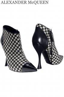 25.0cm【レンタルシューズ】Product code:01073 | ALEXANDER McQUEEN Houndstooth Ankle Boots(アレキサンダー・マックイーン シューズ)