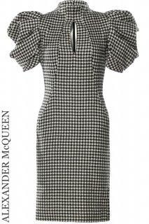 7号【レンタルドレス】Product code:01107 | ALEXANDER McQUEEN Houndstooth Puff Sleeve Dress(アレキサンダー・マックイーン ドレス)