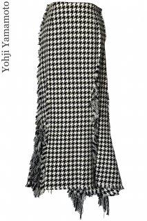 7-9号【レンタルドレス】Product code:05011 | Yohji Yamamoto Houndstooth Asymmetry Long Skirt(ヨウジ・ヤマモト ロングスカート)