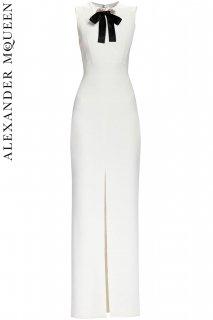 7号【レンタルドレス】PRD CODE:01111 | ALEXANDER McQUEEN White Embellished Bow Evening Gown(アレキサンダー・マックイーン ドレス)