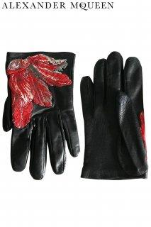 18cm【レンタルグローブ】PRD CODE:01112 | ALEXANDER McQUEEN Tulip Embroidered Gloves(アレキサンダー・マックイーン グローブ)