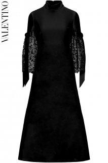 7号【レンタルドレス】PRD CODE:00138 | VALENTINO Lace Trim Embellishment Mock Neck Midi Dress(ヴァレンティノ ミディドレス)
