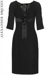9号【レンタルドレス】PRD CODE:01119 | ALEXANDER McQUEEN Black Wool Midi Dress w/ Bow(アレキサンダー・マックイーン ドレス)