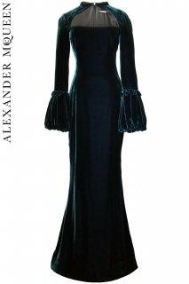 7号【レンタルドレス】PRD CODE:01120 | ALEXANDER McQUEEN Dark Green Velvet Gown(アレキサンダー・マックイーン ドレス)
