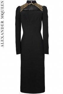 7号【レンタルドレス】PRD CODE:01121 | ALEXANDER McQUEEN Mock Neck Embroidered Midi Dress(アレキサンダー・マックイーン ドレス)