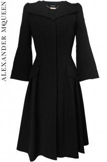 7号【レンタルドレス】PRD CODE:01091 | ALEXANDER McQUEEN Black Pleated-Accented Coat Dress(アレキサンダー・マックイーン コート)