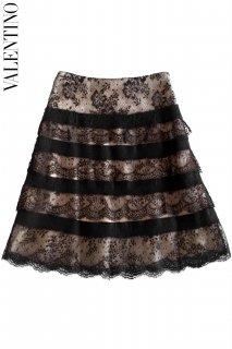 9号【レンタルドレス】PRD CODE:00054 | VALENTINO Black Lace Layered Knee-Length Beige Pink Skirt(ヴァレンティノ スカート)