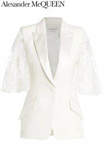 7号【レンタルドレス】PRD CODE:01125 | ALEXANDER McQUEEN Ivory Lace Cape-Sleeve Jacket(アレキサンダー・マックイーン ジャケット)