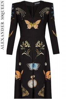 7号【レンタルドレス】PRD CODE:01087 | ALEXANDER McQUEEN Obsession Print V-Neck Dress(アレキサンダー・マックイーン ドレス)