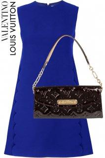 7号【レンタルドレス】PRD CODE:00120-set | VALENTINO Royal Blue Scalloped Crew Neck Mini Dress(ヴァレンティノ ドレスセット)