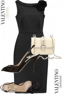 7号【レンタルドレス】PRD CODE:00028-set | VALENTINO Black Boat Neck Rose Rosette Dress-set(ヴァレンティノ ドレスセット)