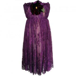 11号(9〜11号)■レンタルドレス■Product code:21001 | DOLCE & GABBANA Purple Lace flower corsage dress(ドルチェ&ガッバーナ)