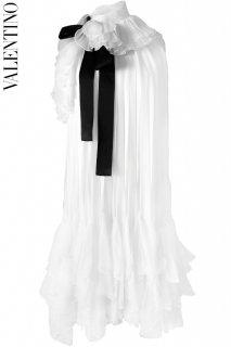 9号【レンタルドレス】PRD CODE:00001-6 | VALENTINO Ivory Ruffle Dress w/ Black Ribbon(ヴァレンティノ ドレス/ウェディングドレス)