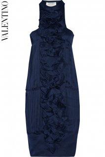11号【レンタルドレス】PRD CODE:00047 | VALENTINO Navy Pleats & Ruffled Petal Knee-Length Dress(ヴァレンティノ ドレス)