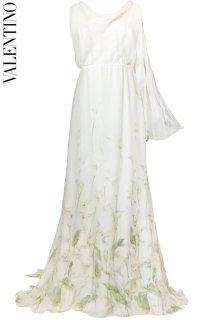9号【レンタルドレス】PRD CODE:00087 | VALENTINO Calla Lily Print Ivory Silk Chiffon Gown(ヴァレンティノ ウェディングドレス)