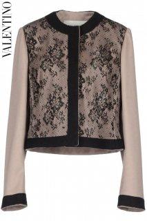 9号【レンタルドレス】PRD CODE:00060 | VALENTINO Black Lace Layered Beige Pink Wool Jacket(ヴァレンティノ ジャケット)
