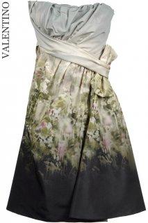 9号【レンタルドレス】Product code:00013 | VALENTINO Floral Garden Printed Silk Dress(ヴァレンティノ ストラップレスドレス)