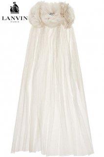 57cm【レンタルべール】Product code:17008 | LANVIN Organza-Appliquéd Bridal Short Veil(ランバン ショートべール)