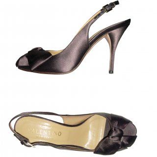 24.5cm■レンタルシューズ■Product code:00039 | VALENTINO GARAVANI Brown silk satin Bow Pumps(ヴァレンティノ リボンパンプス)