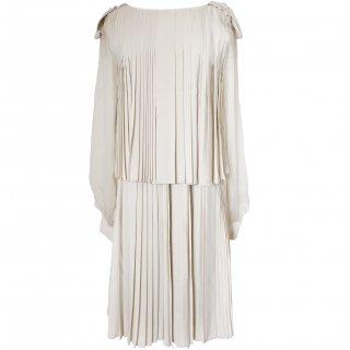 7号■レンタルドレス■Product code:06011 | Chloé Beige Pleats dress(クロエ ベージュ プリーツ ワンピースドレス)