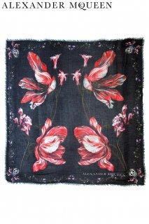 130cm×130cm【レンタルアクセサリー】Product code:01026 | ALEXANDER McQUEEN Tulip-Print Scarf(アレキサンダーマックイーン スカーフ)
