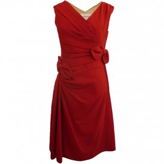 7号■レンタルドレス■Product code:00083 | VALENTINO Sleeveles draped/bows wool Red dress(ヴァレンティノ ドレス)