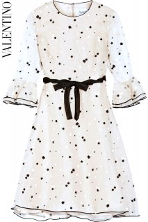 7〜9号■レンタルドレス■Product code:00094 | VALENTINO Beige Silk Embroidered Polka Dot Dress(ヴァレンティノドレス)