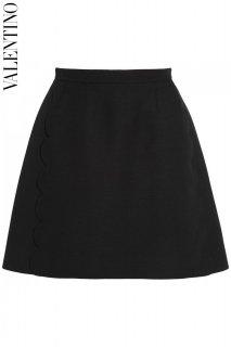 7号【レンタルドレス】PRD CODE:00099 | VALENTINO Scalloped Black A-line Knee-Length Skirt(ヴァレンティノ スカート)