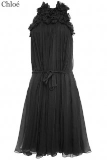 7号■レンタルドレス■Product code:06010 | Chloé Black flower appliqued silk dress(クロエ ドレス)