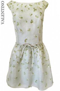 9号【レンタルドレス】Product code:00097 | VALENTINO Clover Print Pastel Olive-Green Dress(ヴァレンティノ ドレス)