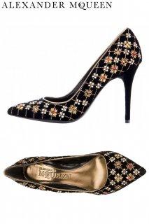 23.0cm【レンタルシューズ】Product code:01053 | ALEXANDER McQUEEN Velvet Embroidered Shoes(アレキサンダー・マックイーン シューズ)