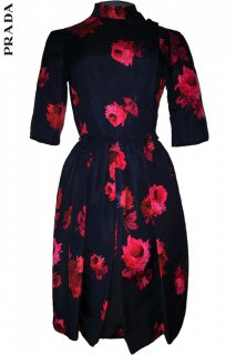 7号■レンタルドレス■Product code:09001 | PRADA Iconic Rose Print Silk Dress(プラダ ドレス)