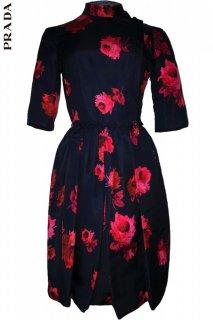 7号【レンタルドレス】PRD CODE:09001 | PRADA Iconic Rose Print Mock-Neck Knee-Length Dress(プラダ ローズプリント ドレス)