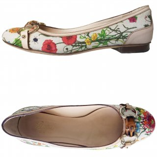 レンタルシューズ■Product code:02014 | GUCCI Flora Collection 2005  Floral print Flat Pumps(グッチ パンプス)