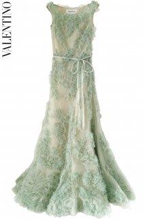 7号【レンタルドレス】Product code:00101 | VALENTINO Green Applique Tulle Gown(ヴァレンティノ ドレス)