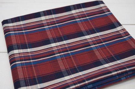 カットクロス【1.25m】タータンチェック綾織りレッド系