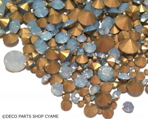 Vカットガラスストーン ライトブルーオパール MIX