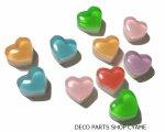 【デコパーツ10個】 ハート型二層キャンディMIX
