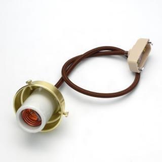 E-26横ビスセード付ペンダント茶コード金サテン