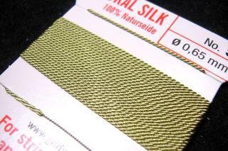 【1-3日内発送】針がついているので通すの簡単。0号〜6号グリフィン糸(シルク)/ジェイド 2M
