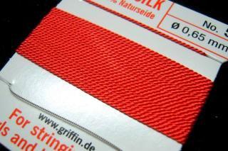 【1-3日内発送】針がついているので通すの簡単。7号〜16号グリフィン糸(シルク)/コーラル 2M