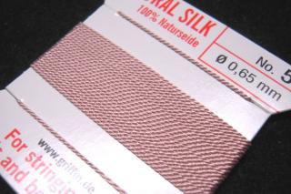針がついているので通すの簡単。0号〜6号グリフィン糸(シルク)/ライトピンク 2M